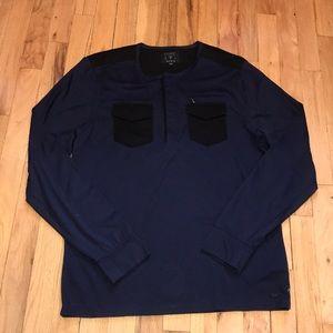 Guess men's l/s navy blue/black pocket shirt M